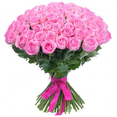 151 Розовая Роза Эквадор (50/60 см.) фото
