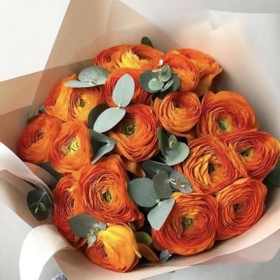 19 Оранжевых Ранункулюсов фото