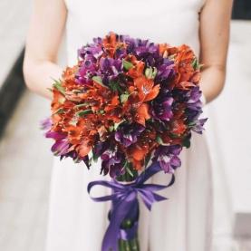 17 Оранжево-Фиолетовых Альстромерий фото