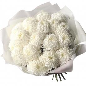 19 Белых Хризантем Бигуди фото