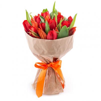 19 Красно-Оранжевых Тюльпанов фото