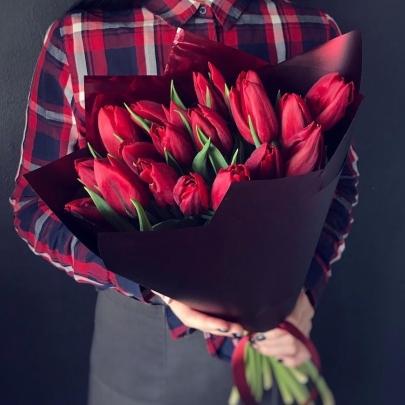 19 Красных Тюльпанов фото