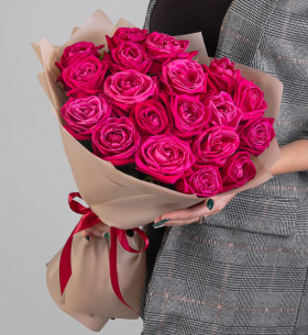 19 Малиновых Роз (50 см.) фото