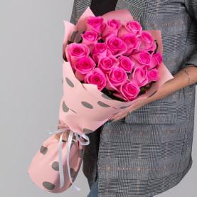19 Ярко-Розовых Роз (50 см.) фото