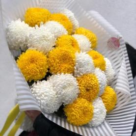 21 Желтая и Белая Хризантема Бигуди фото