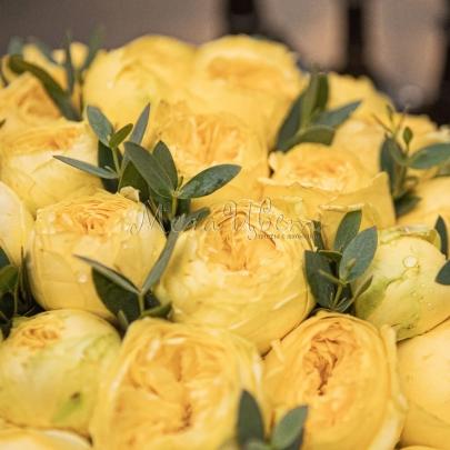 19 Желтых Роз Пионовидных в шляпной коробке фото