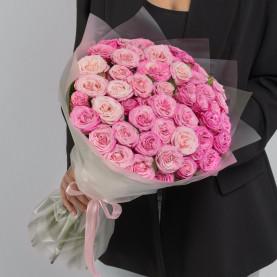 25 Кустовых Пионовидных Розовых Роз (50 см.) фото