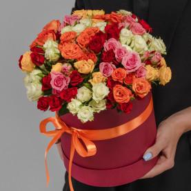 25 Кустовых Роз Микс (40 см.) в коробке фото