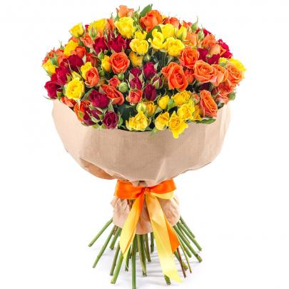 25 Кустовых Разноцветных Роз (50 см.) фото