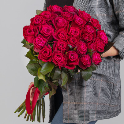 25 Малиновых Роз (60 см.) фото