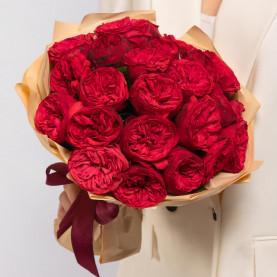 25 Пионовидных Красных Роз (40 см.) фото