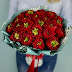 25 Пушистых Красных Роз (40 см.) фото