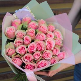 25 Розово-Белых Роз (40 см.) фото