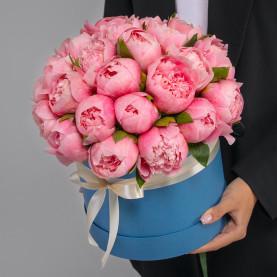 25 Розовых Пионов в коробке фото