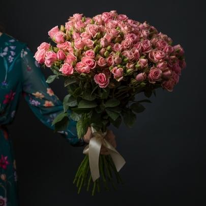 25 Розовых Роз Кустовых фото