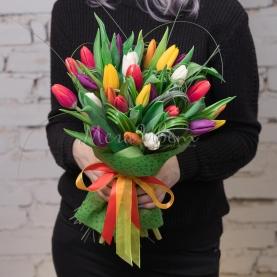 25 Тюльпанов разноцветных фото