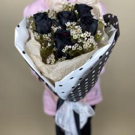5 Черных Роз и Ваксфлауэр фото