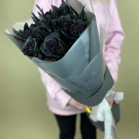 9 Черных Роз (70 см.) фото