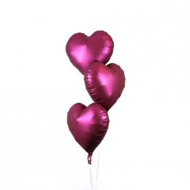 """3 Воздушных Шара """"Сердце"""" (Пурпурный) фото"""