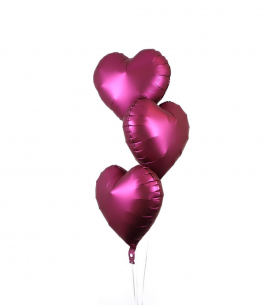 """3 Воздушных Шара """"Сердце"""" (Пурпурный)"""