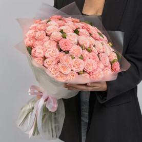 35 Кустовых Пионовидных Персиковых Роз (50 см.) фото