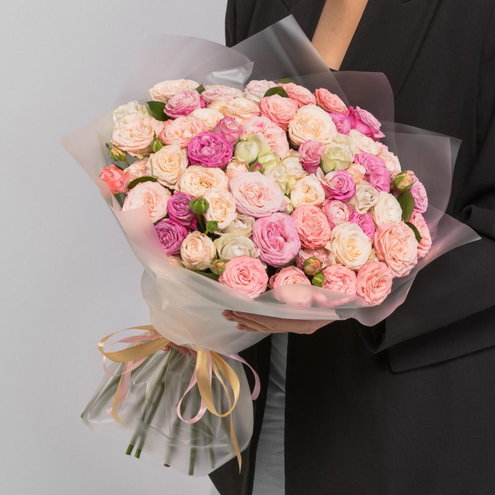 35 Кустовых Пионовидных Роз Микс (50 см.) фото