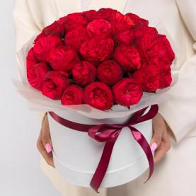 35 Пионовидных Красных Роз (40 см.) в коробке фото