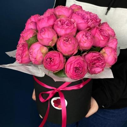 35 Пионовидных Роз Pink Piano в коробке фото