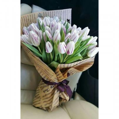 35 Бело-Сиреневых Тюльпанов фото