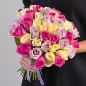 45 Бело-Розово-Сиреневых Роз (30-40 см.) фото