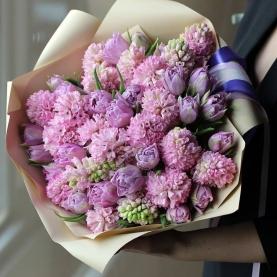 45 Розовых Гиацинтов и Тюльпанов фото