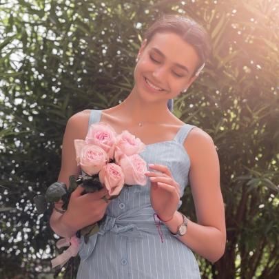 5 Розовых Роз Ароматных Пионовидных фото