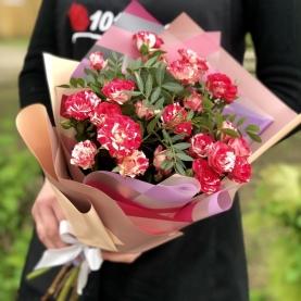 5 Бело-Красных Кустовых Роз (50/60 см.) фото
