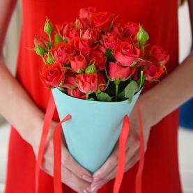 5 Кустовых Красных Роз (50 см.)