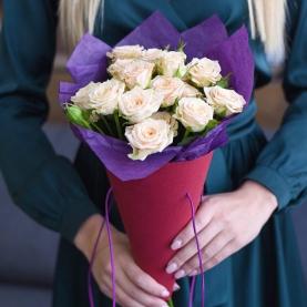 5 Кустовых Кремовых Роз (50 см.)