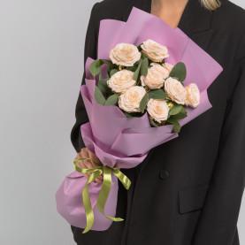 5 Кустовых Пионовидных Кремовых Роз (50 см.) фото