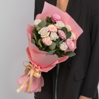 5 Кустовых Пионовидных Роз Микс (50 см.) фото