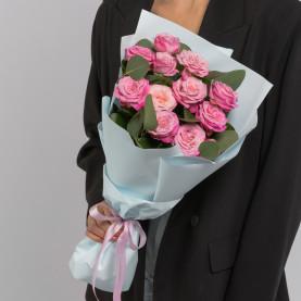 5 Кустовых Пионовидных Розовых Роз (50 см.) фото