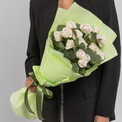 5 Кустовых Пионовидных Сиреневых Роз (50 см.) фото