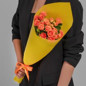 5 Кустовых Оранжевых Роз (50 см.) фото