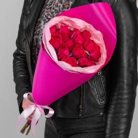 5 Кустовых Пионовидных Красных Роз (50 см.) фото