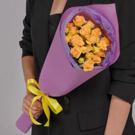 5 Кустовых Желтых Роз (50 см.) фото
