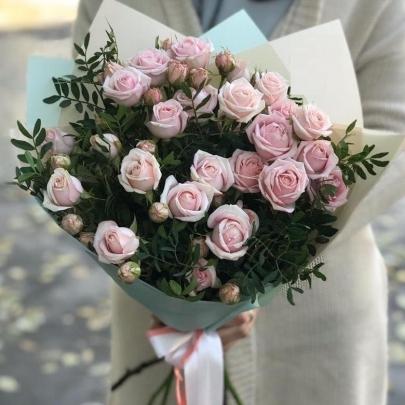 5 Pink Bubbles Роз (50/60 см.) фото