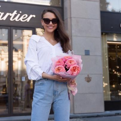5 Розовых Роз Пионовидных фото