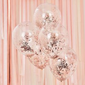 5 Прозрачных Воздушных Шаров Розовое Золото фото