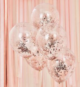 5 Прозрачных Воздушных Шаров Розовое Золото