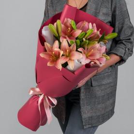 5 Розовых Лилий фото