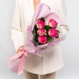 5 Розовых Роз (60 см.) фото