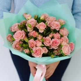 9 Розовых Роз Кустовых (50/60 см.)