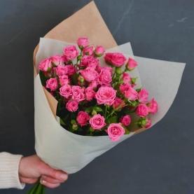 5 Кустовых Розовых Роз (50 см.)